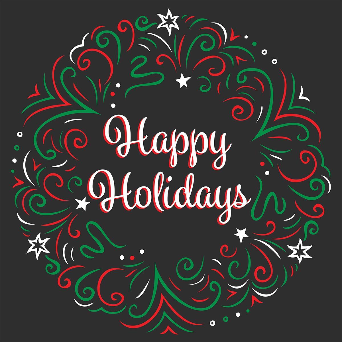 "24"" x 24"" Seasonal Floor Decal | ""Happy Holidays"" Message"