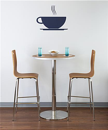 Restaurant style bistro lunchroom table with optional stools