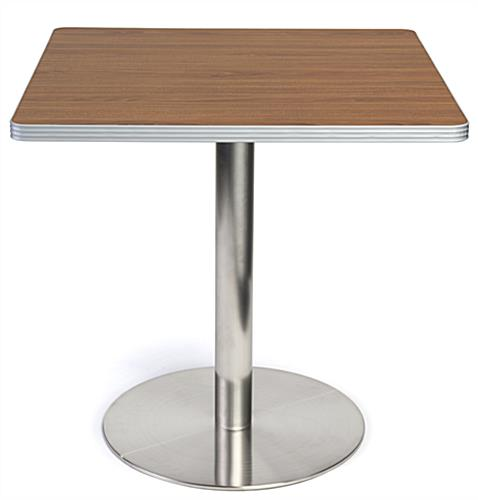 Dining height breakroom cafe table with dark finish tabletop