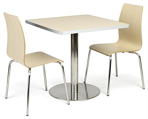 Café height table breakroom set in light finish