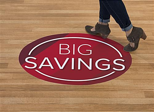 Removable BIG SAVINGS floor graphics last 1 to 3 months