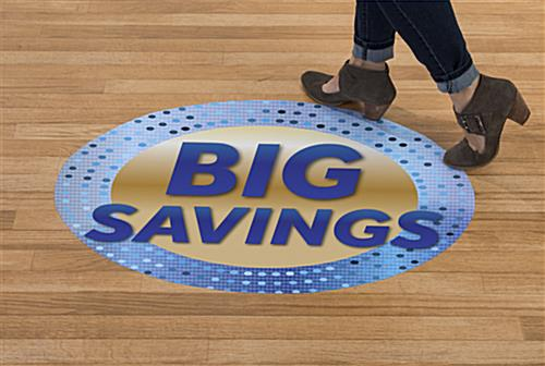 Indoor outdoor BIG SAVINGS floor decals with walk on texture