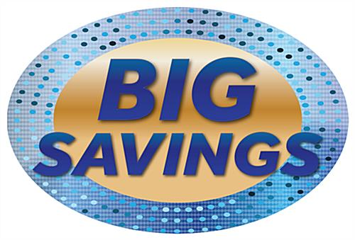 Indoor outdoor BIG SAVINGS floor decals with blue and gold design