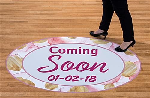 Personalized coming soon floor decals for indoor or outdoor use