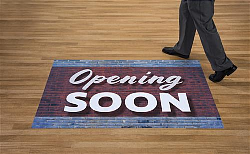 Store OPENING floor marketing signs on wood