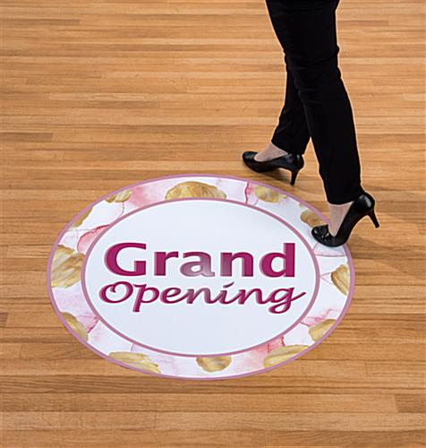 Grand opening floor printed decals that withstand heavy foot traffic