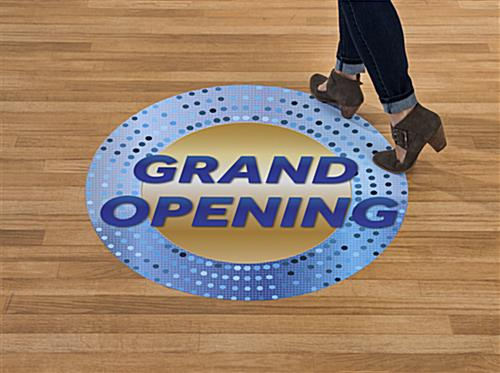 GRAND OPENING walk on floor graphics with eye catching blue and gold design