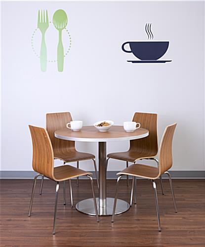 Dining height lunchroom bar table with bentwood chairs