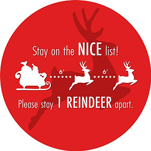 Round social distance floor decal with holiday message with Vibrant Reindeer Graphic For Public Safety