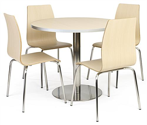 Cafeteria breakroom round dining table set with 4 included chairs