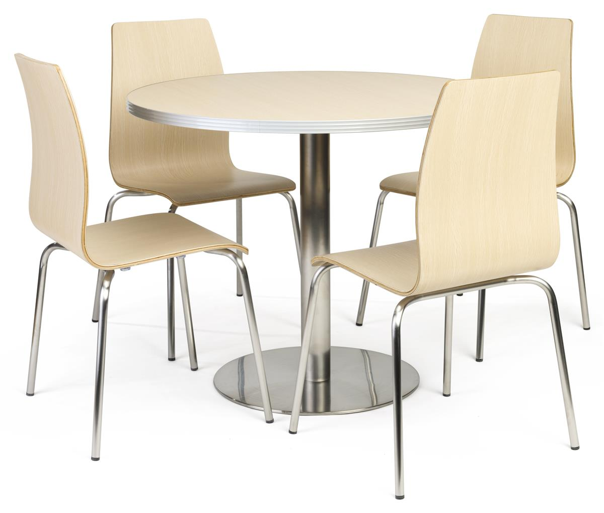 Cafeteria Breakroom Round Dining Table Set 5 Piece Set