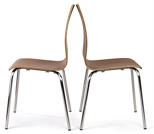 Bistro style lunchroom table and chairs includes bent wood seating
