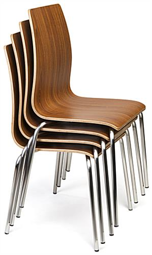 Bistro style lunchroom table and chairs stacked seating