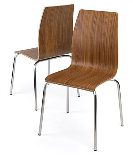 Bistro style lunchroom table and chairs curved seats