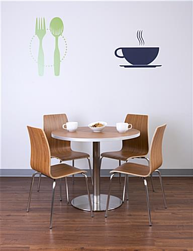 Bistro style lunchroom table and chairs in cafeteria