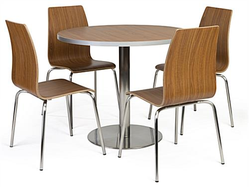 Bistro style lunchroom table and chairs with 4 included seats