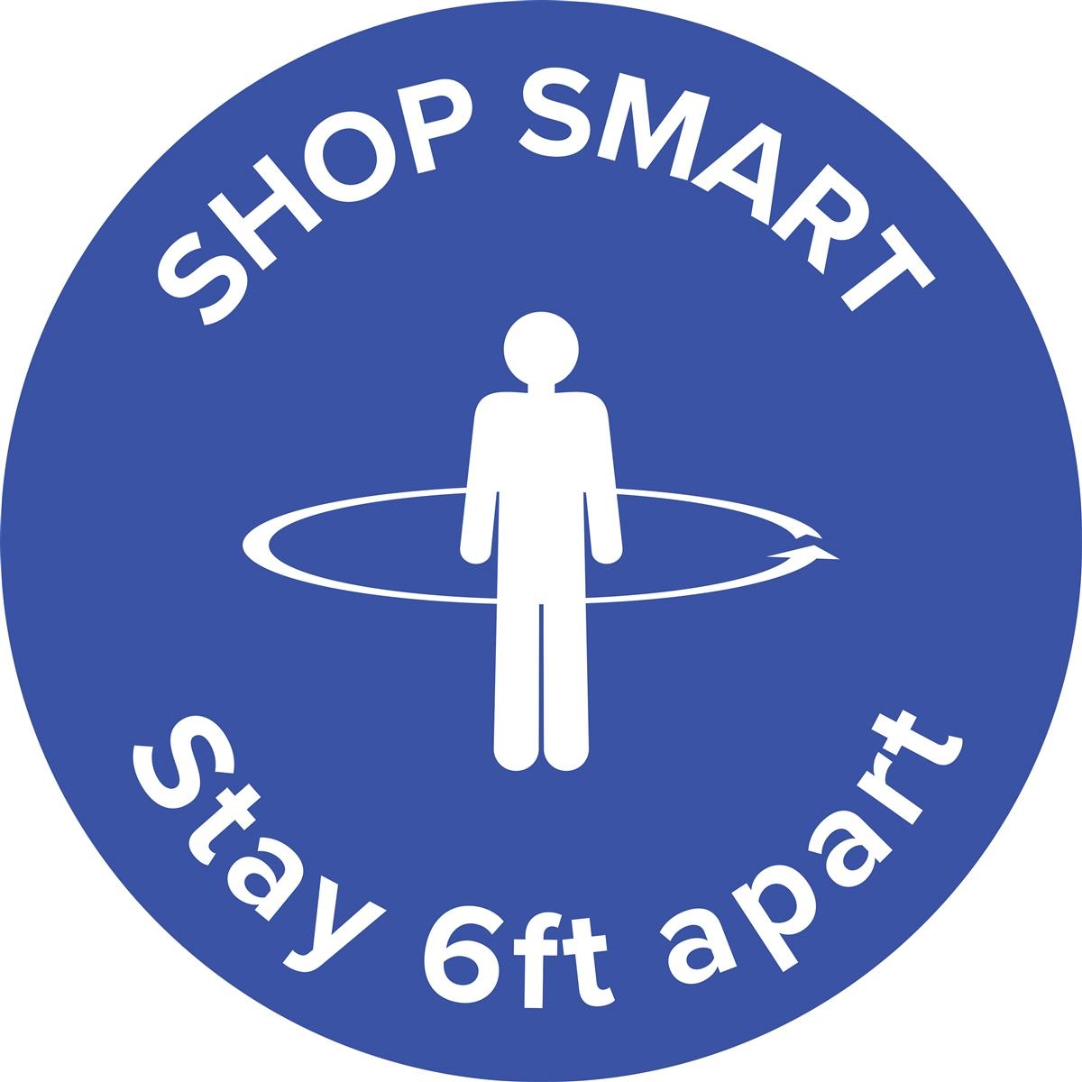 "Blue physical distancing ""shop smart"" floor decal"