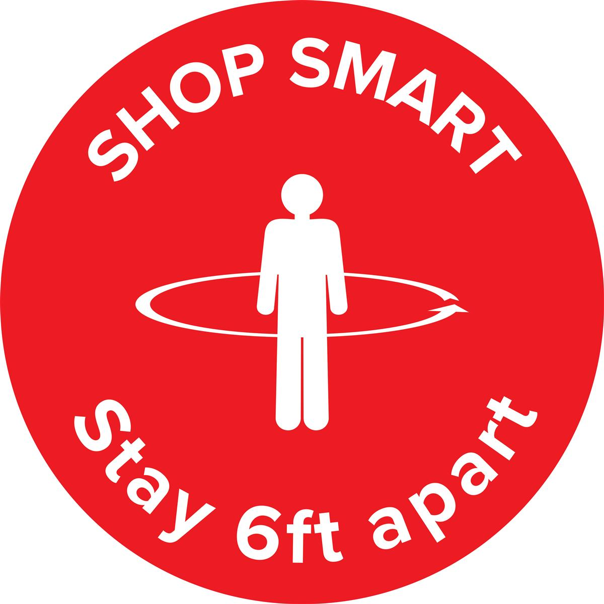 "Bright red physical distancing ""shop smart"" floor decal"