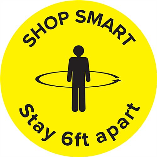 "Bright yellow physical distancing ""shop smart"" floor decal"