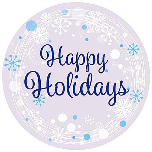 "36"" x 36"" round ""Happy Holidays"" floor decal with pre-printed design"