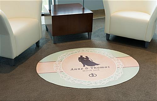 Oval commercial floor sticker on carpet