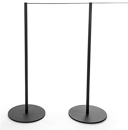 2 Connected Posts in the 10-Stanchion Black Museum Barrier System