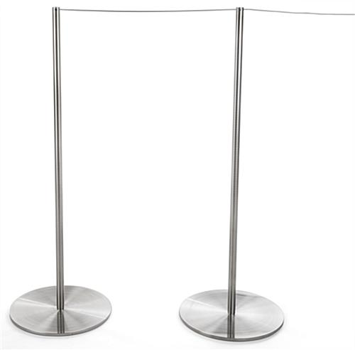 2 Attached Posts and Rope of the 10-Stanchion Silver Museum Barrier Set