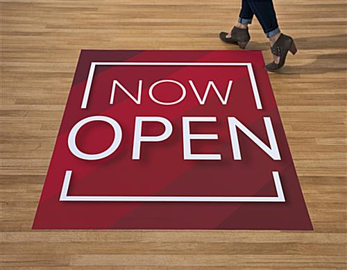 Large red OPENING SOON promotional floor decal lasts 1 to 3 months