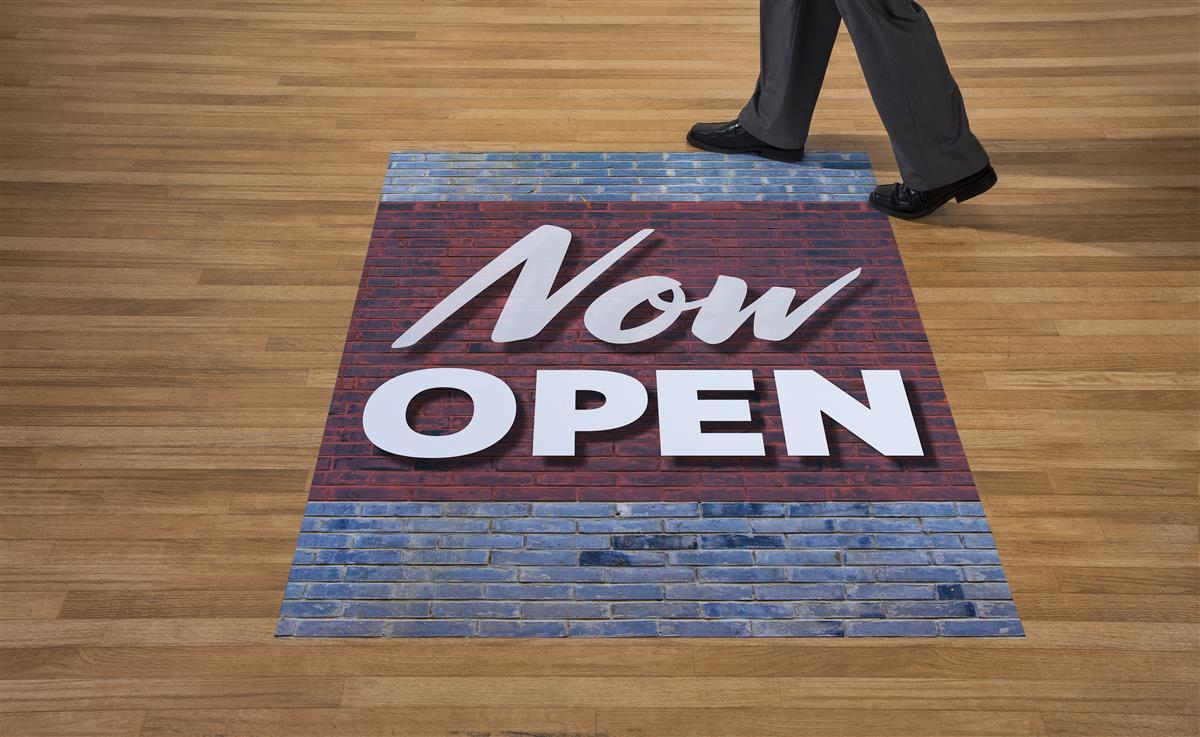 Commercial Store Open Floor Decals Non Slip Vinyl
