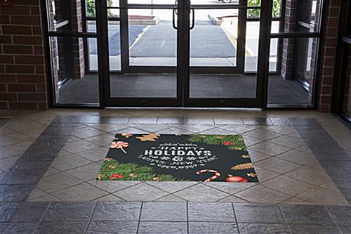 "48"" x 48"" square ""Happy Holidays"" floor decal with stock graphics"