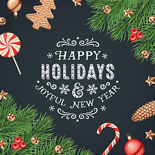 "48"" x 48"" square ""Happy Holidays"" floor decal with seasonal artwork"