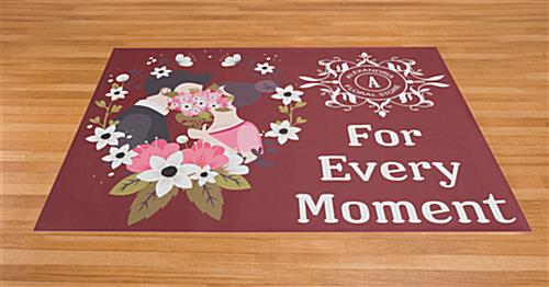 Large custom floor decal rectangle stickers on wood surface