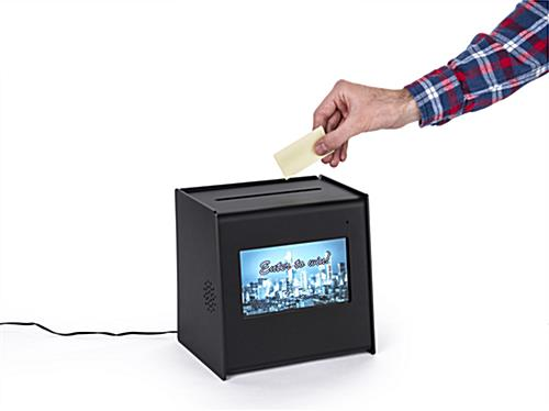 Suggestion ballot box with video screen integrated into body