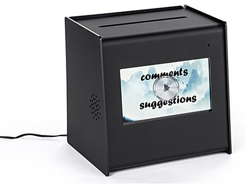 Black acrylic suggestion ballot box with video screen