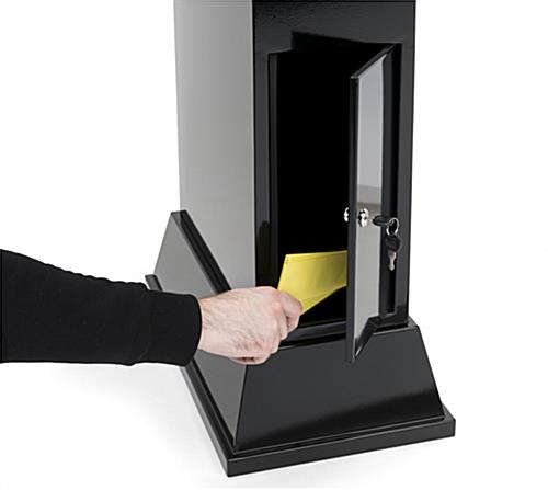 Secure locking floor competition entry box with video screen