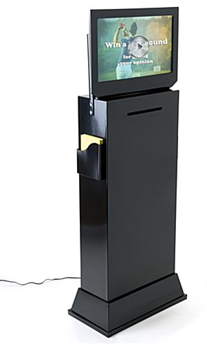 Black freestanding floor competition entry box with video screen and sign holder