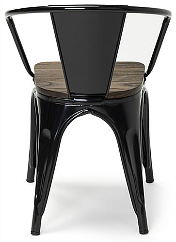 Two-tone metal bistro chair set with 4 plastic feet per seat