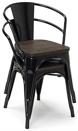 Stackable metal bistro chair set with plastic protective foot pads