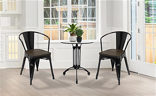 Metal bistro chair set with two-tone modern design