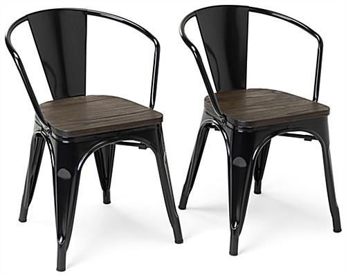 19.75 inch wide metal bistro chair set with elm wood seats