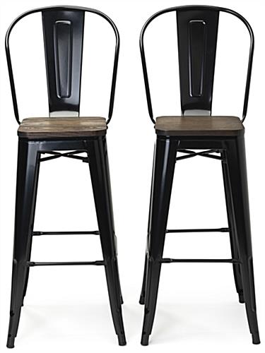 Black high back bar stool set with 29.5 inch tall tapered legs
