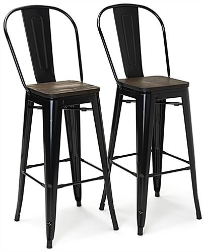 High back bar stool set with wood and metal construction