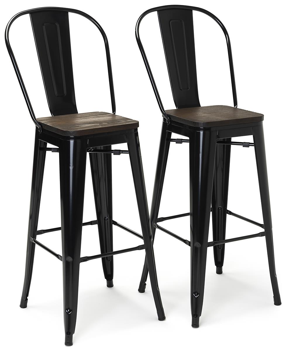 Picture of: High Back Bar Stool Set Wood And Metal Counter Height Design