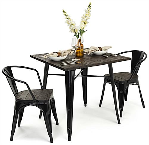 Black power-coated indoor café table set seats two