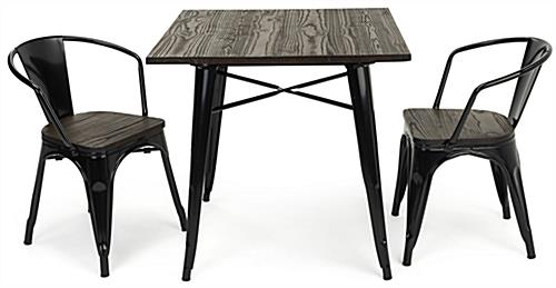 Indoor café table set features a square 31.5 inch wide top