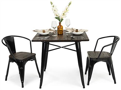 Indoor café table set with wood and metal construction