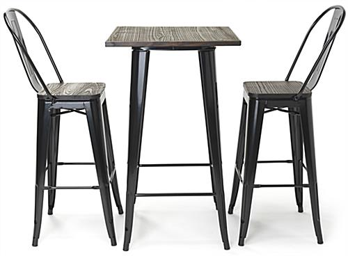 High top bar table set includes two 46.5 inch tall curved-back chairs
