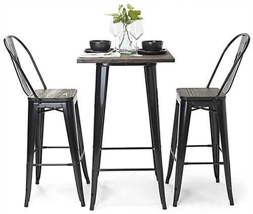 High top bar table set with tapered leg design