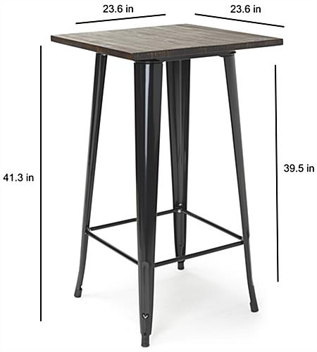 Easy to assemble high top bar table set with square shaped tabletop