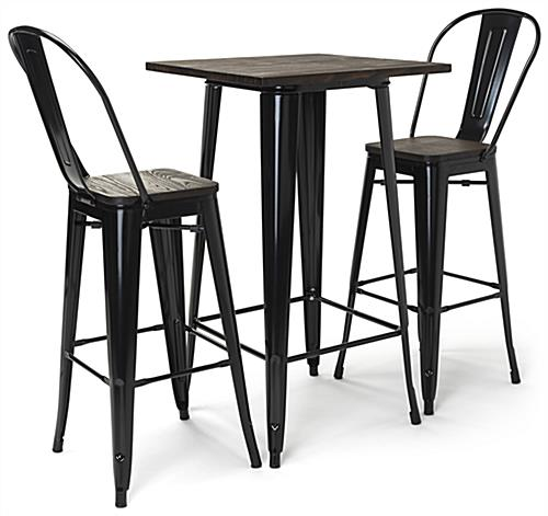High top bar table set with black powder coated frame